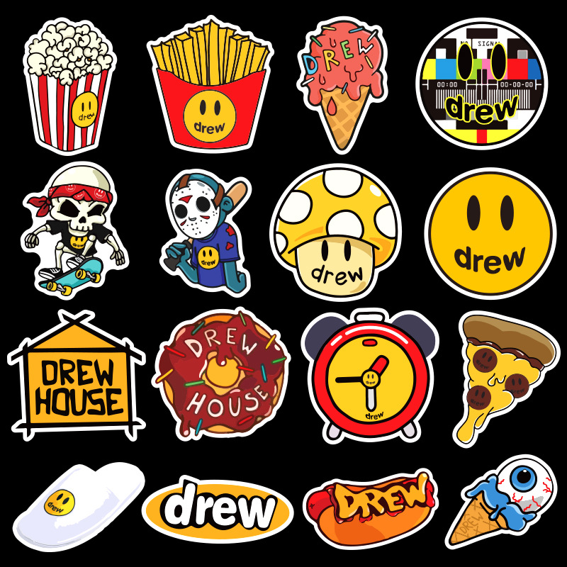 50PCS Singer Justin Bieber Drewhouse Sticker Pack For PC Suitcase Laptop Motorcycle Styling Cool Cartoon Stickers