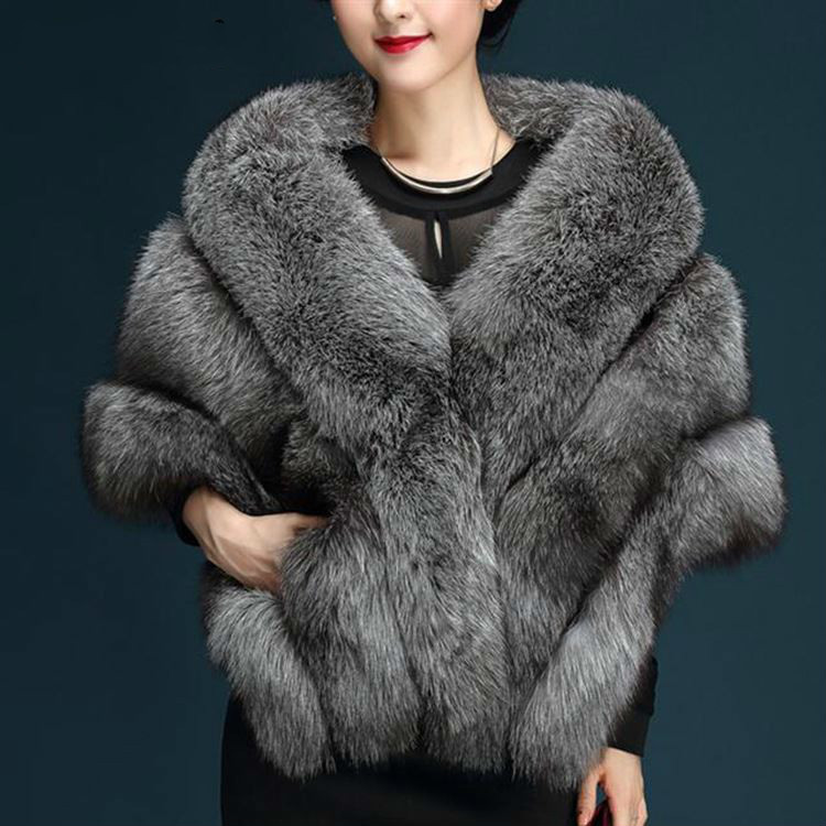 Faux Fur Shawl Coat For Women Bride Wedding Shawl Large Size Imitation Fur Vest Jacket Ladies Coat Fashion Outerwear