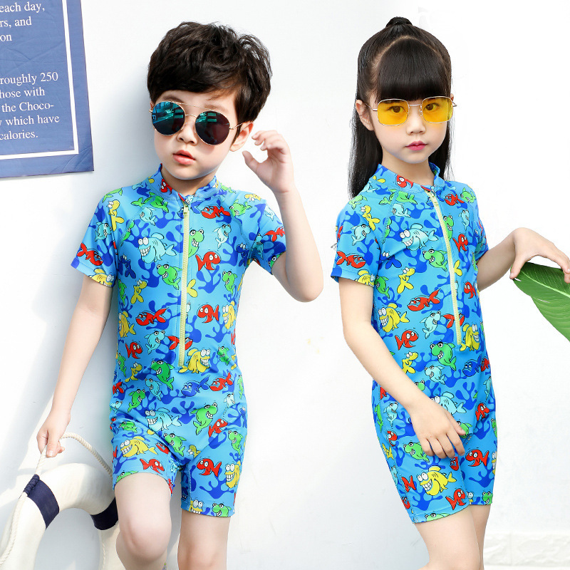 Sbart KID'S Swimwear Men And Women Children Swimwear Big Boy Siamese Swimsuit Quick-Dry Kids Romper Bathing Suit