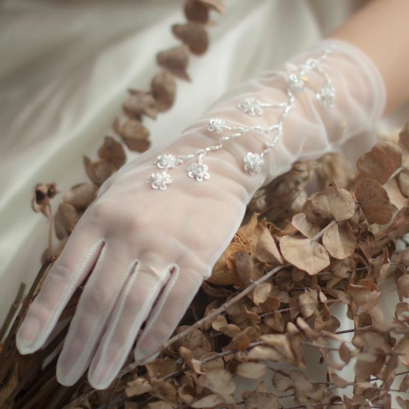 Handmade Flower Bridal Gloves Lace Transparent Bride Wedding Gloves Mesh Wedding Gloves For Bride White Gloves