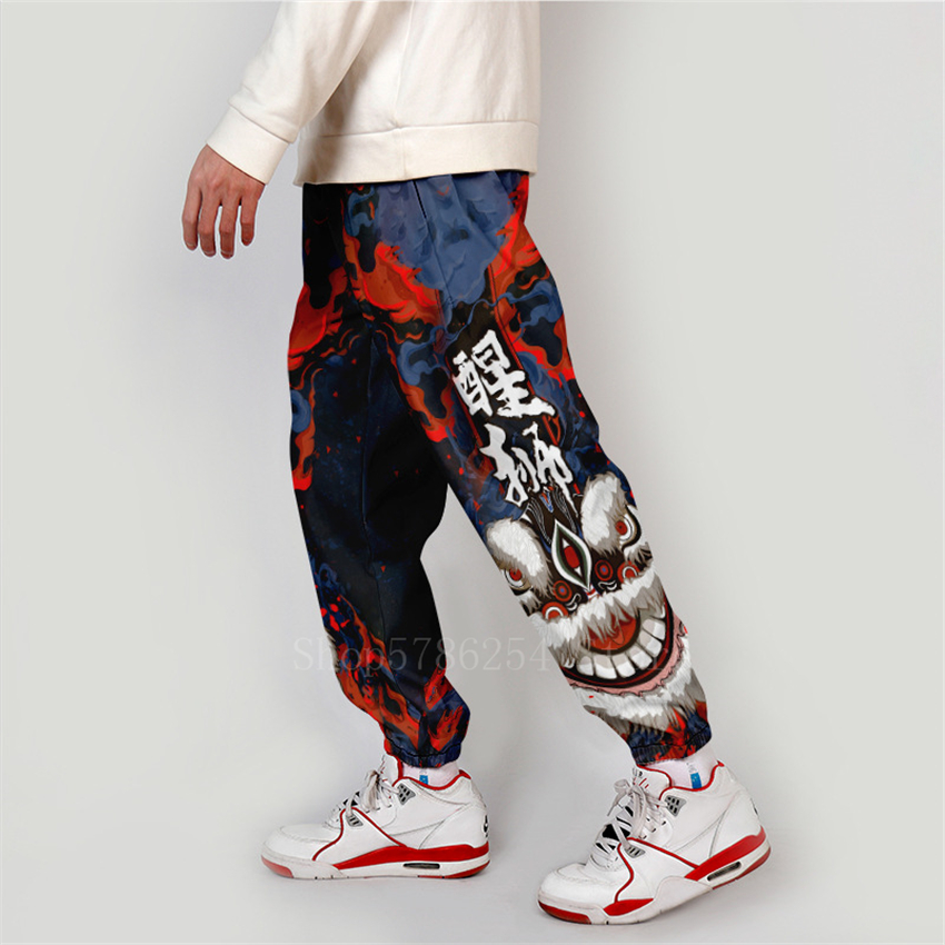 Asian Japanese Traditional Clothes Kimono Pants Men Male Fashion Chinese Lion Print Casual Wide Leg Overalls Patchwork Trousers
