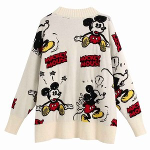 Disney Stylish Mickey Mouse Cartoon Print V-Neck Cardigan Single-breasted Streetwear Women Sweater White Knitted Long Sleeve Top