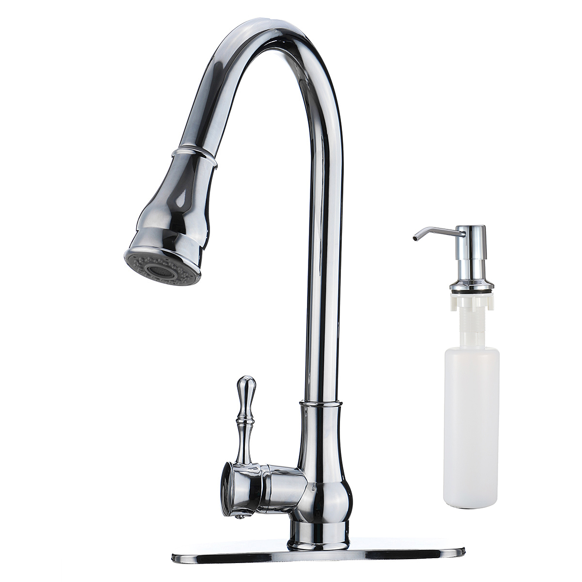 Brass Chrome Pull Out Kitchen Sink Faucet Spray 360Rotation With Soap Dispenser Cold And Hot Water Swivel Spout Sink Mixer Tap
