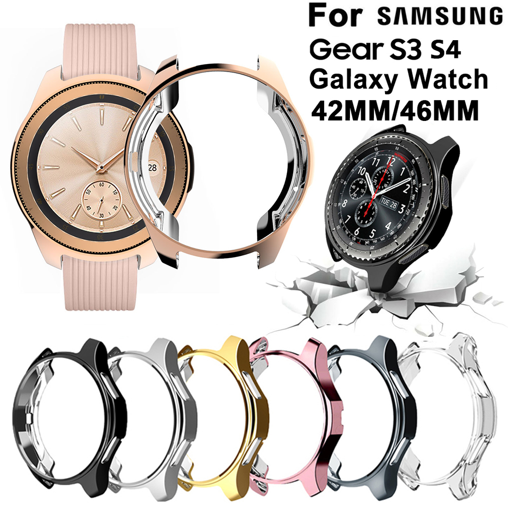 Caixa galvanizada para samsung gear s3 s4 galaxy watch 46mm 42mm tpu macio all-around protetor pára-choques quadro bordas ao redor