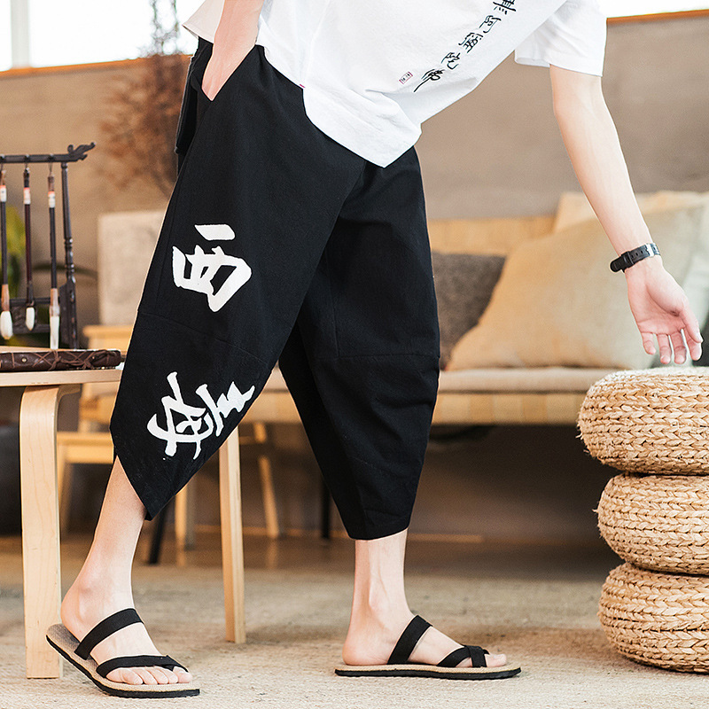 Harem-Pants Vintage Chinese-Style Men Joggers Elastic-Waist Printed Loose Cotton Linen