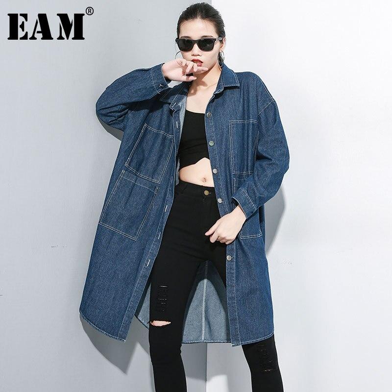 [EAM] Women Pocket Oversize Denim Trench New Lapel Long Sleeve Loose Fit Windbreaker Fashion Tide Spring Autumn 2020 1A695