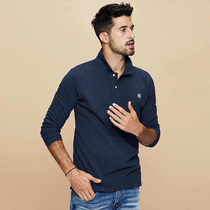 KUEGOU 2019 الخريف 100% القطن التطريز أسود قميص بولو الرجال أزياء كم طويل صالح سليم Poloshirt الذكور الملابس الماركات 2626