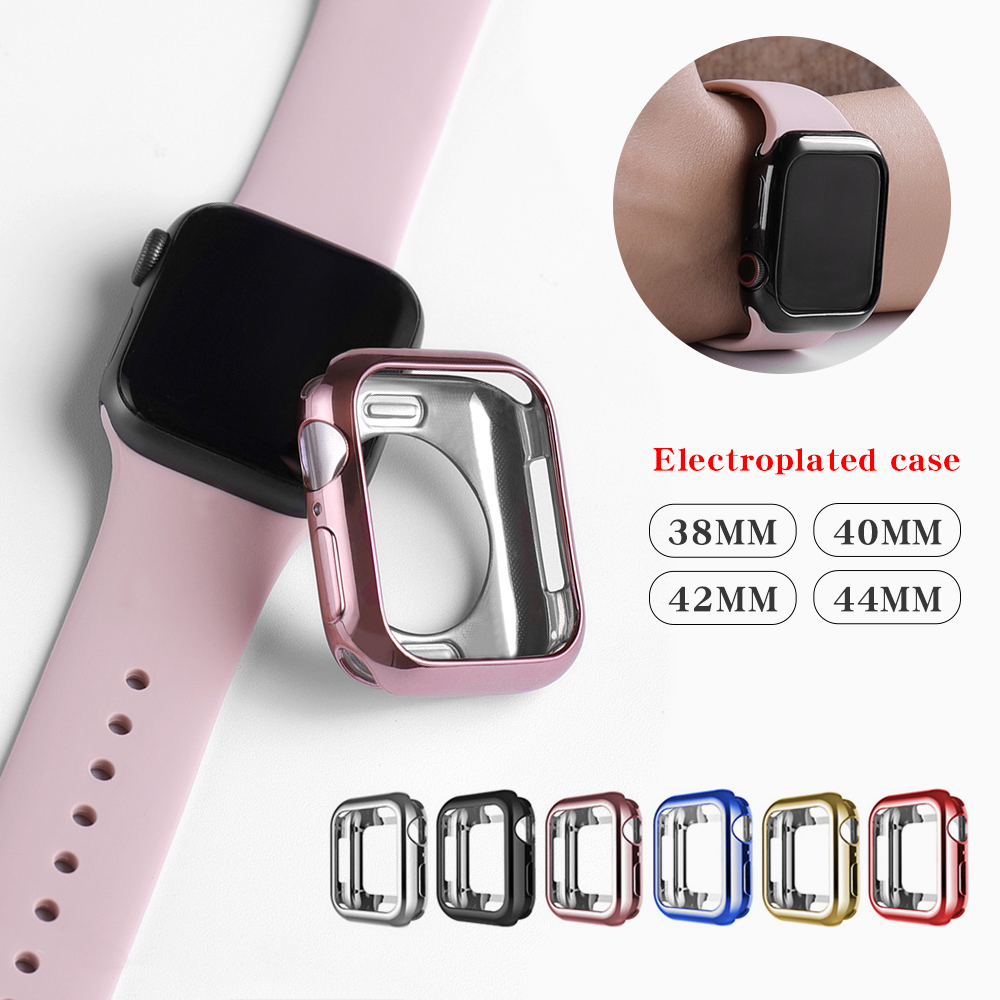 Watch case ultra-thin plated watch case for Apple <font><b>4</b></font> <font><b>3</b></font> <font><b>2</b></font> 1 42MM 38MM soft transparent TPU cover for iWatch 5 44MM 40MMaccessories image