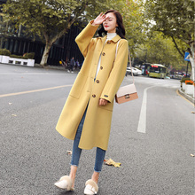 Outerwear Overcoat Autumn Jacket Casual Women New Fashion Long Woolen Coat Single Breasted Slim Type Female Winter Wool Coats new women wool blends long coat autumn winter 2019 fashion sashes woolen jacket slim outerwear female