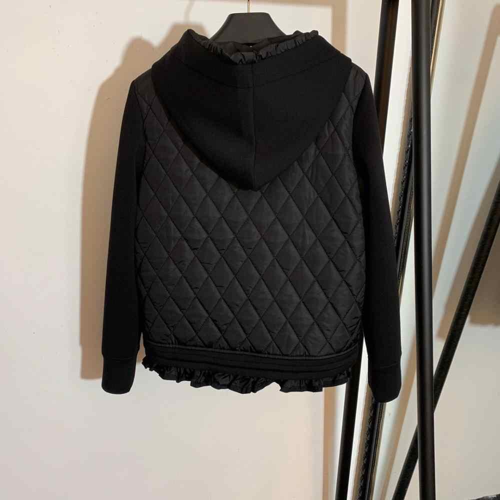 11.15 moda yeni inci nakış argyle uzun kollu kapşonlu uzay pamuk kollu patchwork uzun kaban fermuarlı ceket