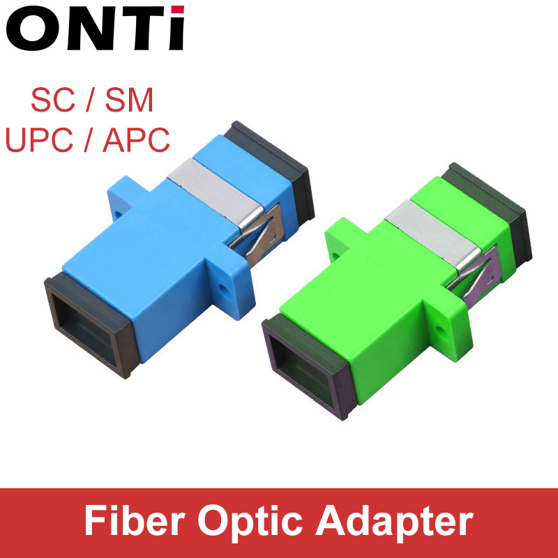 ONTi 200 Pcs  Fiber Optic Connector Adapter SC / UPC SM Flange Singlemode Simplex SC-SC APC Coupler Free Shipping Wholesale