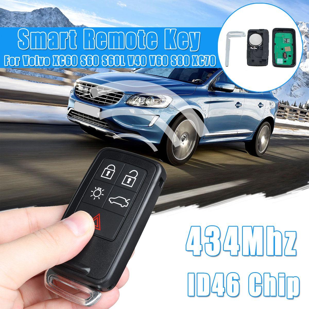 434Mhz clé à distance intelligente 5 boutons avec ID46 puce voiture télécommande porte verrouillage pour Volvo XC60 S60 S60L V40 V60 S80 XC70