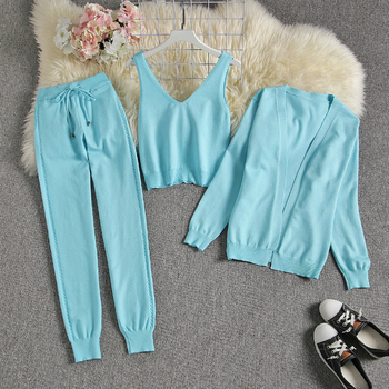 ALPHALMODA Spring Candy Color Knitted Cardigans + Camisole + Pants 3pcs Fashion Suit Women Seasonal Stylish Clothes Set 7