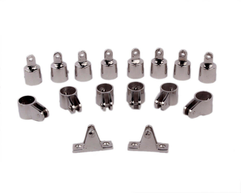 """Set of 16 Boat Fittings 1/"""" 4-Bow Bimini Top Marine 316 Stainless Steel Hardware"""