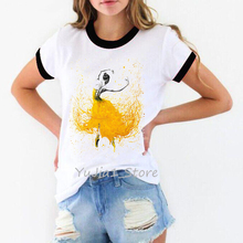 ropa mujer 2019 watercolor Ballet Girl tshirt women vogue vintage t shirt camiseta kawaii clothes white female t-shirt top
