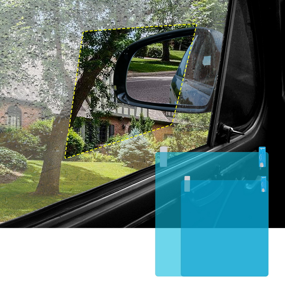 175x200mm Car Rearview Mirror Rainproof Film Full Screen Glass Anti Fog Side Window Reflective Mirror Universal Waterproof Film