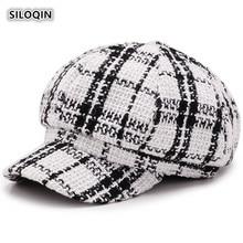 SILOQIN  Beret For Women Autumn Winter Trend Fashion Plaid Cloth Berets Snapback Adjustable Size Elegant Lady Brand Caps Gorras