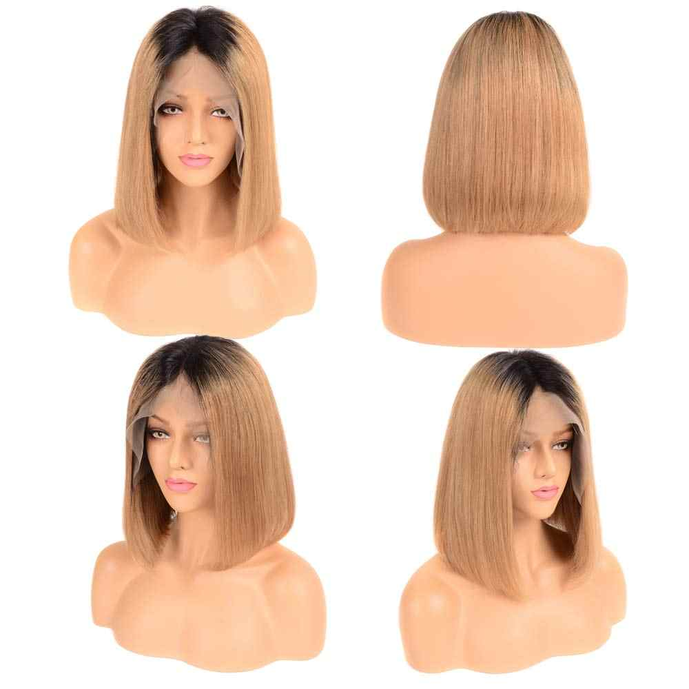 2 Tones 1B T 27 Ombre Blonde Short Bob Wigs for Women Brazilian Straight 13x6 Lace Frontal Wigs Middle Part Remy Human Hair Esee