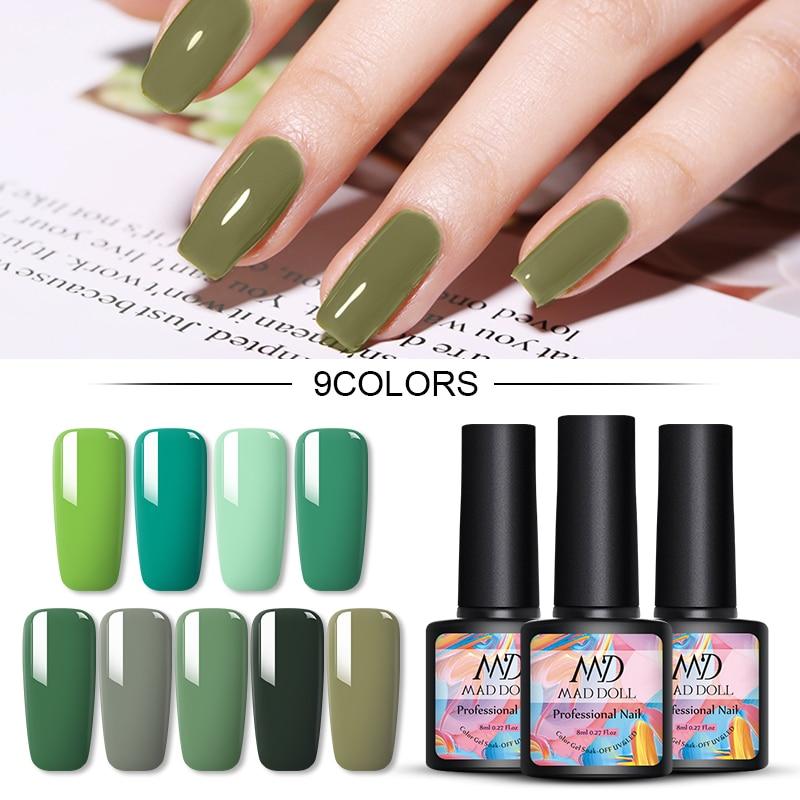 MAD DOLL 8ml Gel Nail Polish Green Series Colorful Long Lasting Soak Off UV Gel Varnish One-shot Nail Art DIY Design Tools