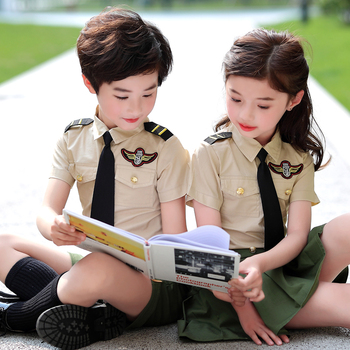 цена на Kindergarten clothing summer school pupils school uniform military training performance boys and girls children's suit uniforms