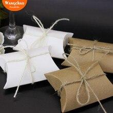 50 шт. крафт-коробка для подушки для конфет, печенья, Упаковочные сумки, бумажные свадебные подарочные коробки, вечерние сумки для детского душа