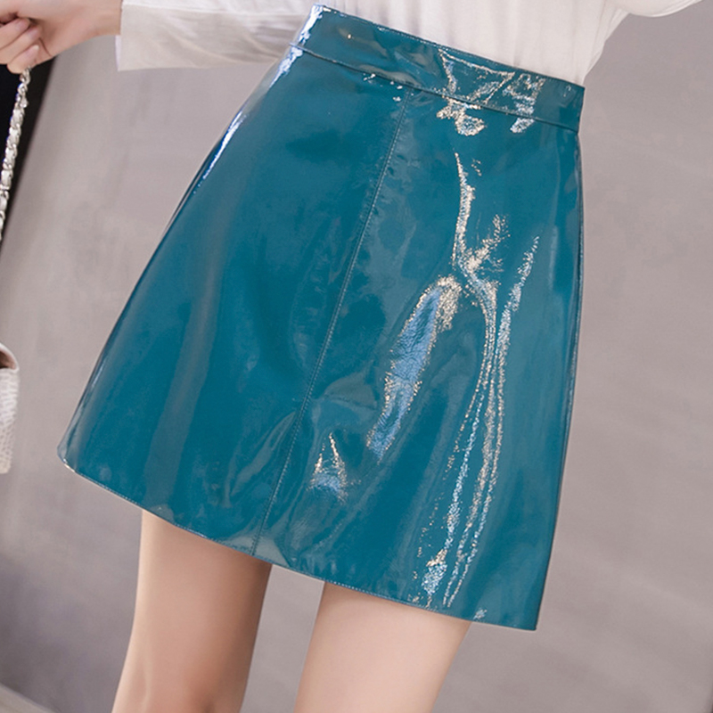 QRWR 2021 Spring Summer Women Skirt High Waist Solid Color Mini Skirts Straight PU Leather Shiny Club Cute Sexy Skirts for Women 6