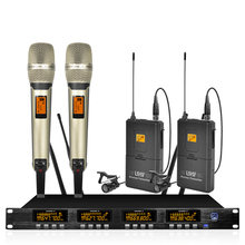 Wireless microphone system frequency adjustable professional UHF dual handheld dual lavalier microphone wireless family karaoke(China)