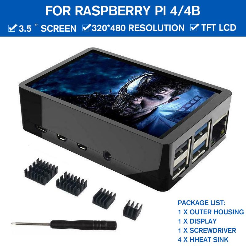 3.5 inch LCD Touch <font><b>Screen</b></font> LCD Display 320x480 with ABS Case Box Heatsinks Screwdriver TFT Monitor Kit for <font><b>Raspberry</b></font> <font><b>Pi</b></font> 4 / <font><b>4B</b></font> image