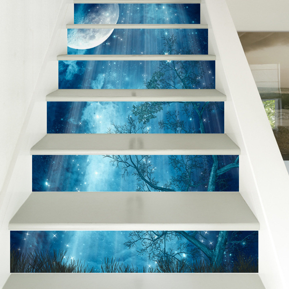 6pcs/13pcs 3D Night Scenery Stair Stickers Home Decor Living Room Restaurant DIY Adhesive Vinyl Floor Wallpaper Stairway Decals