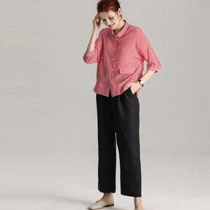 Image 4 - بلوزة شريطية SuyaDream 100% من الحرير الحقيقي مطبوعة بنصف كم بلوزة قميص للنساء 2020 قميص علوي مخطط جديد