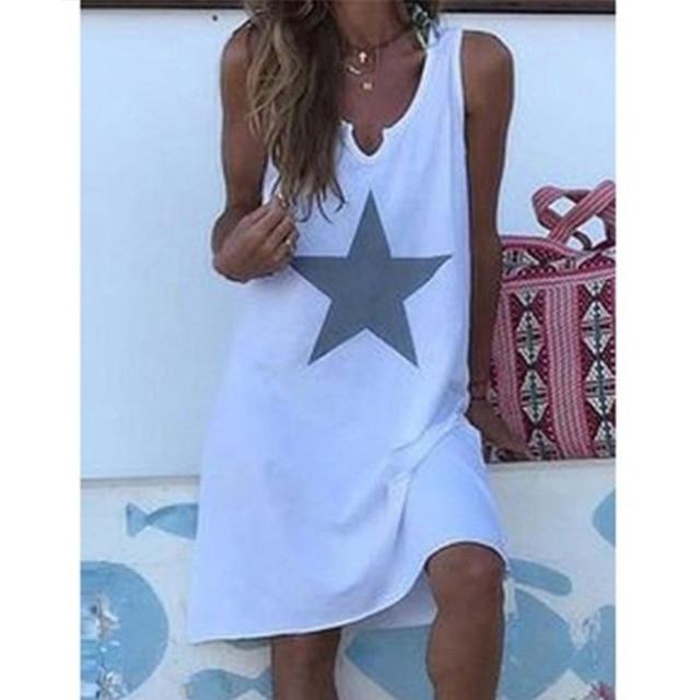 Women 2021 Loose Vintage Star Print Cotton Dress Large Big Summer  Party Beach Dresses Plus Sizes 2