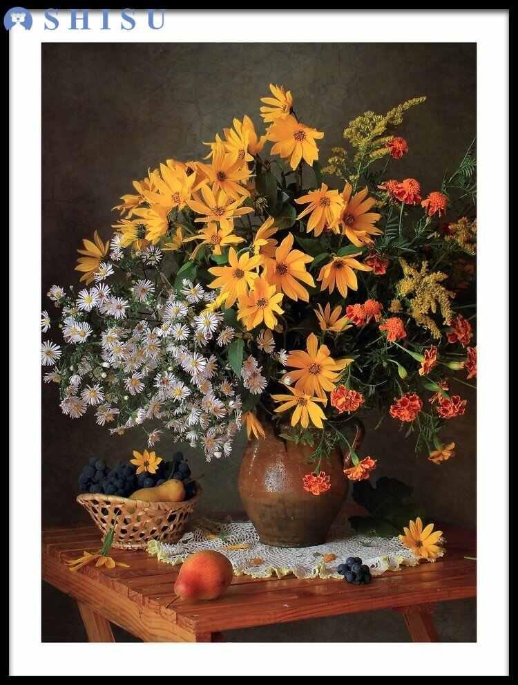 Seis-imagem CombinationStill Vida Com Maçãs e Bouquet Pinturas Lona do Óleo Imagem do Poster para Parede Da Cozinha Decoração