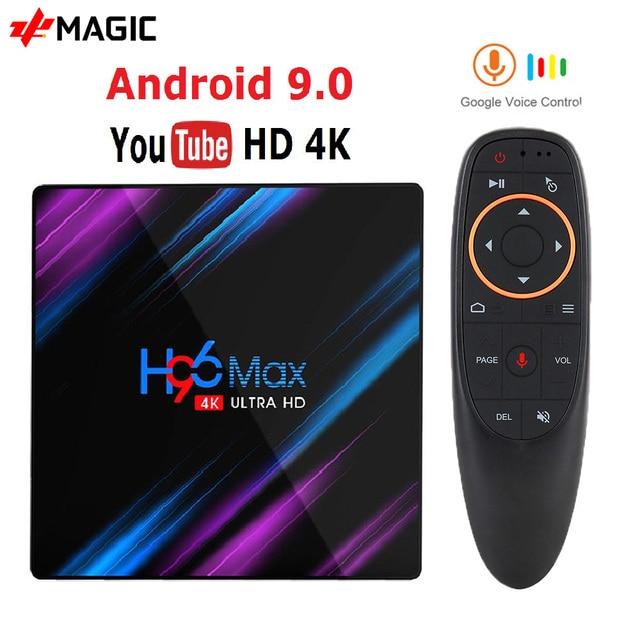 H96 MAX akıllı Android TV kutusu 9.0 RK3318 4GB Ram 32GB 64GB Google ses Youtube 4K bluetooth 2.4G/5G Wifi kutusu akıllı kutu