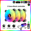 Coolmoon YUPO 120mm 6Pin RGB Computer Case Fan LED Light  PC Case Cooling Fan Mute 5V ARGB Case cooler Fan with Music Controller