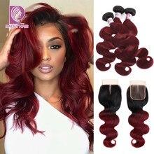 Racily cabelo ombre brasileiro onda do corpo pacotes com fechamento t1b/borgonha cabelo humano 3/4 pacotes com fechamento 99j cabelo remy vermelho