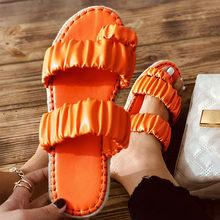 Chinelos de verão das mulheres clipe toe senhoras slides plutônio apartamentos conforto sapatos femininos plissados moda 2021 mulher antiderrapante mais tamanho