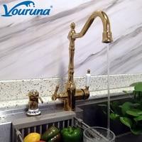 VOURUNA Victoria Golden Kitchen Faucet Tri Flow Sink Mixer RO Water 3 Way Kitchen Tap