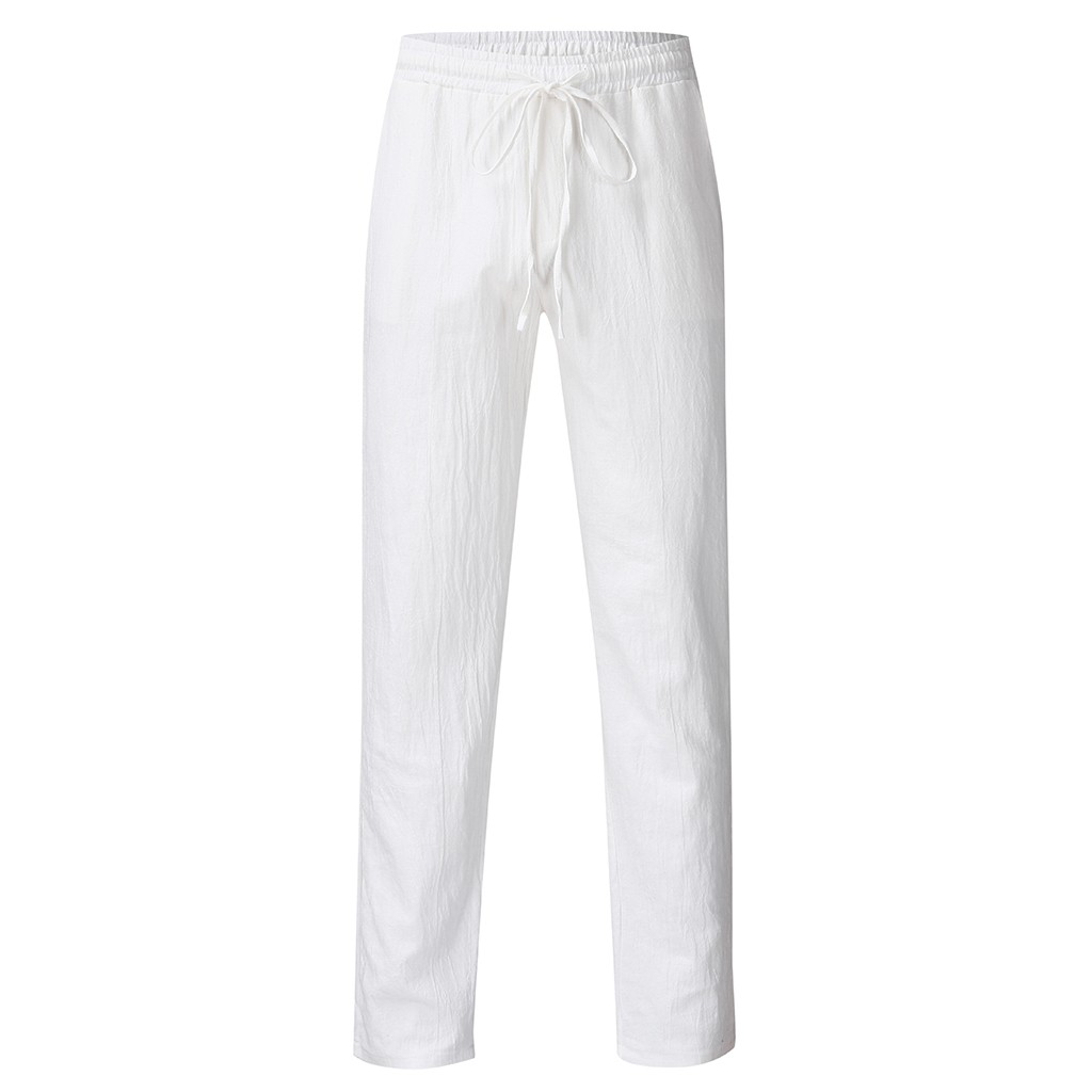 Fashion Cotton Linen Pants Men Casual Trousers Work Solid White Elastic Waist Streetwear Pants D91111