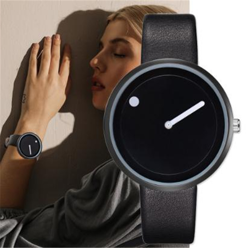 Man Woman Watch 2019 minimalist style creative design point and line simple elegant Watches Female Clock relojes para hombre
