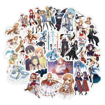 50pcs/pack Sword Art Online Japanese Anime Stickers For Furniture Wall Desk DIY Chair Toy Car Trunk TV Guitar Motorcycle Etc - discount item  25% OFF Classic Toys