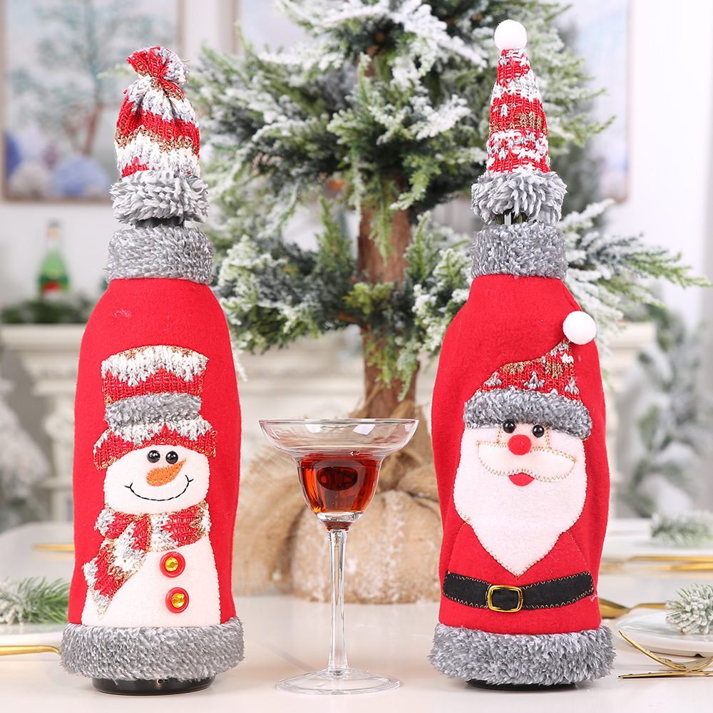 Christmas Wine Bottle Cover Hat Clothes 1 Set Cloth Red Wine Champagne Bottle Cover Christmas Decoration For Home New Year Decor