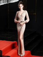 Burgundy Full Sleeve Evening Dress Sequinde Formal Dress Sexy V neck Prom Gown Elegant Evening Gowns for Women Gold