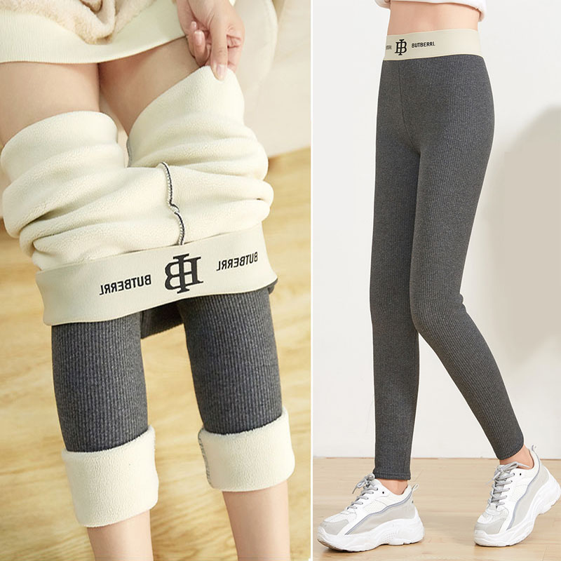 Autumn And Winter Pants Thread Thickened Cashmere Winter  Leggings Women Pure Cotton Nine Point High Waist S lim Warm Leggings