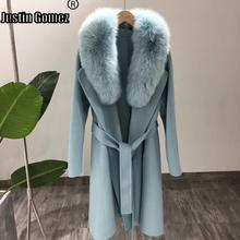 Double-sided Loose Real Fur Collar Cashmere Wool Coat Warm Thick Outdoor Natural Winter Women New Clothing