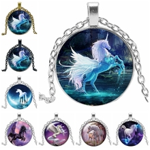 2019 New Hot Sale Unicorn Glass Cabochon Necklace Handmade Color Tianma Pendant Party Jewelry Gift