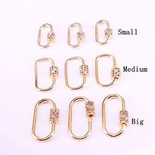5PCS, Rainbow CZ Micro Pave Oval Shaped Crystal Zirconia Clasp Lock Carabiner Pave Lock Jewelry Findings