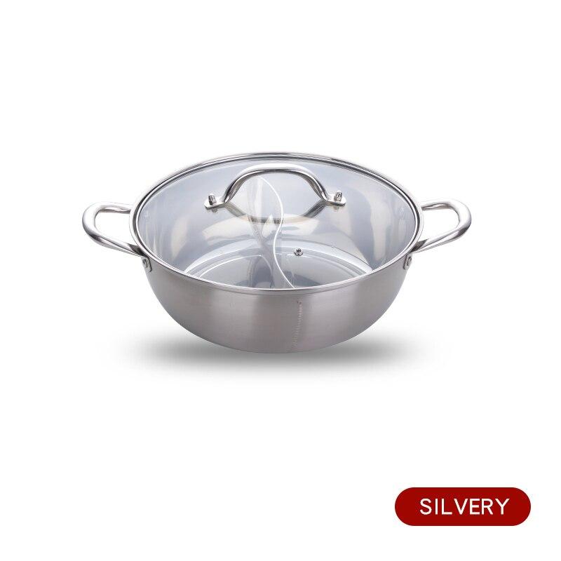 Горячий горшок из нержавеющей стали с двумя отделениями, кухонный горшок, кухонная утварь, однослойная совместимая суповая кастрюля, горшки для домашнего ресторана, инструменты - Цвет: Silver