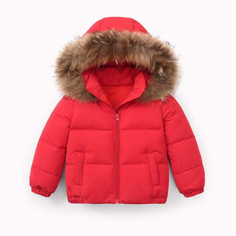 Winter Childrens coat Fur Collar Hooded kids clothes Baby Boys Girls Thickened Down Jacket 2021 Y09.12 1