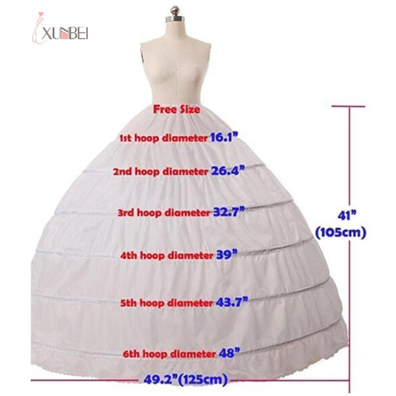 White 6 Hoop Crinoline Long Wedding Petticoat Ball Gown Marriage Gauze Skirt Underskirt Bridal Accessories 2020
