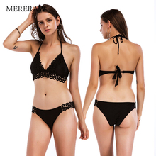 Europe and the United States swimsuit female classic explosion models solid color black lace split high-end sexy bikini spot 2019 explosion models europe and the united states sling v neck long dress print chiffon backless beach high quality